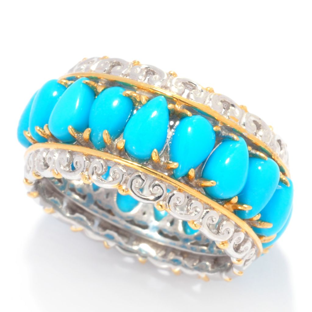 137-678 - Gems en Vogue II Pear Shaped Sleeping Beauty Turquoise Eternity Band Ring