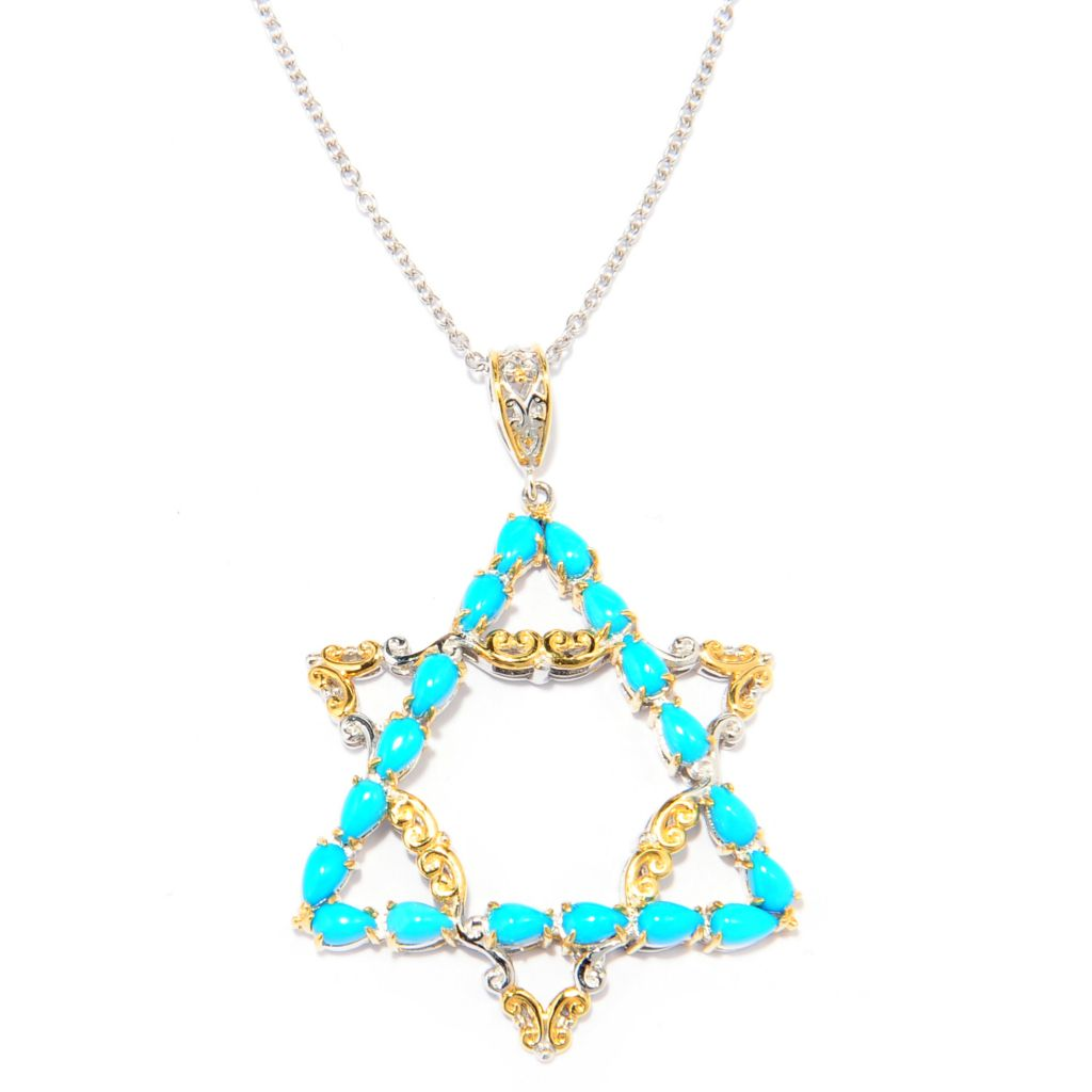 137-681 - Gems en Vogue II Sleeping Beauty Turquoise Star of David Pendant w/ Chain