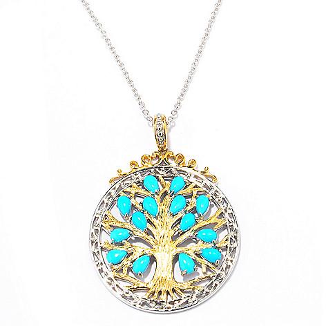 137-682 - Gems en Vogue Sleeping Beauty Turquoise Tree of Life Pendant w/ Chain