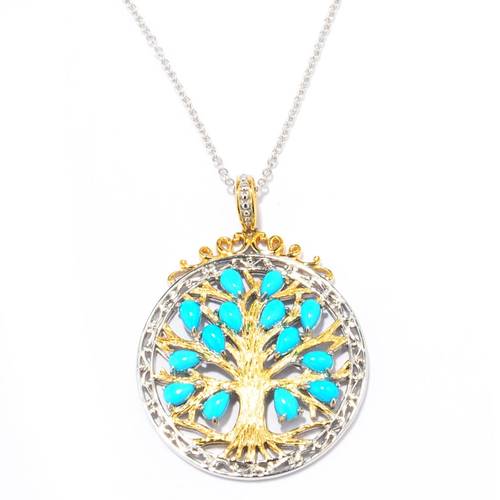 137-682 - Gems en Vogue II Sleeping Beauty Turquoise Tree of Life Pendant w/ Chain