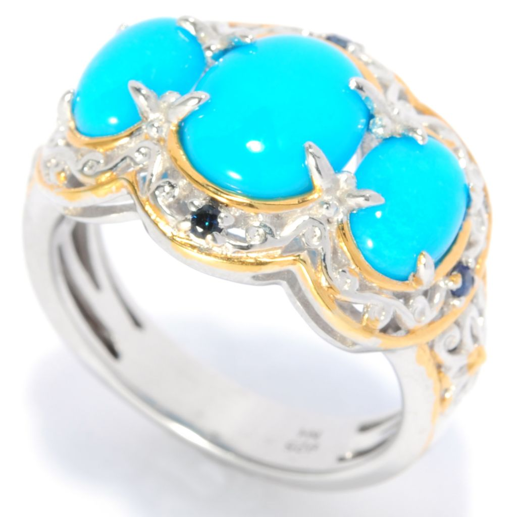 137-683 - Gems en Vogue II Sleeping Beauty Turquoise & Sapphire Three-Stone Ring