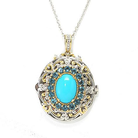 137-684 - Gems en Vogue 14 x 10mm Sleeping Beauty Turquoise & Blue Topaz Locket Pendant w/ Chain
