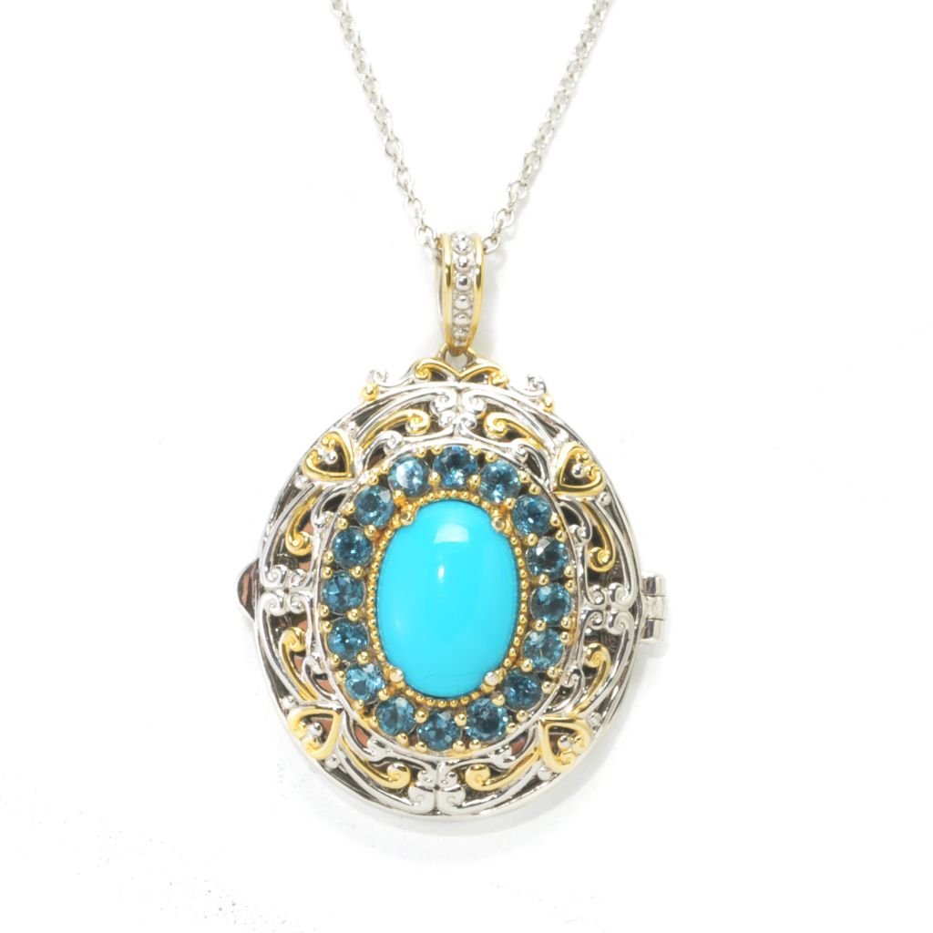 137-684 - Gems en Vogue II 14 x 10mm Sleeping Beauty Turquoise & Blue Topaz Locket Pendant w/ Chain