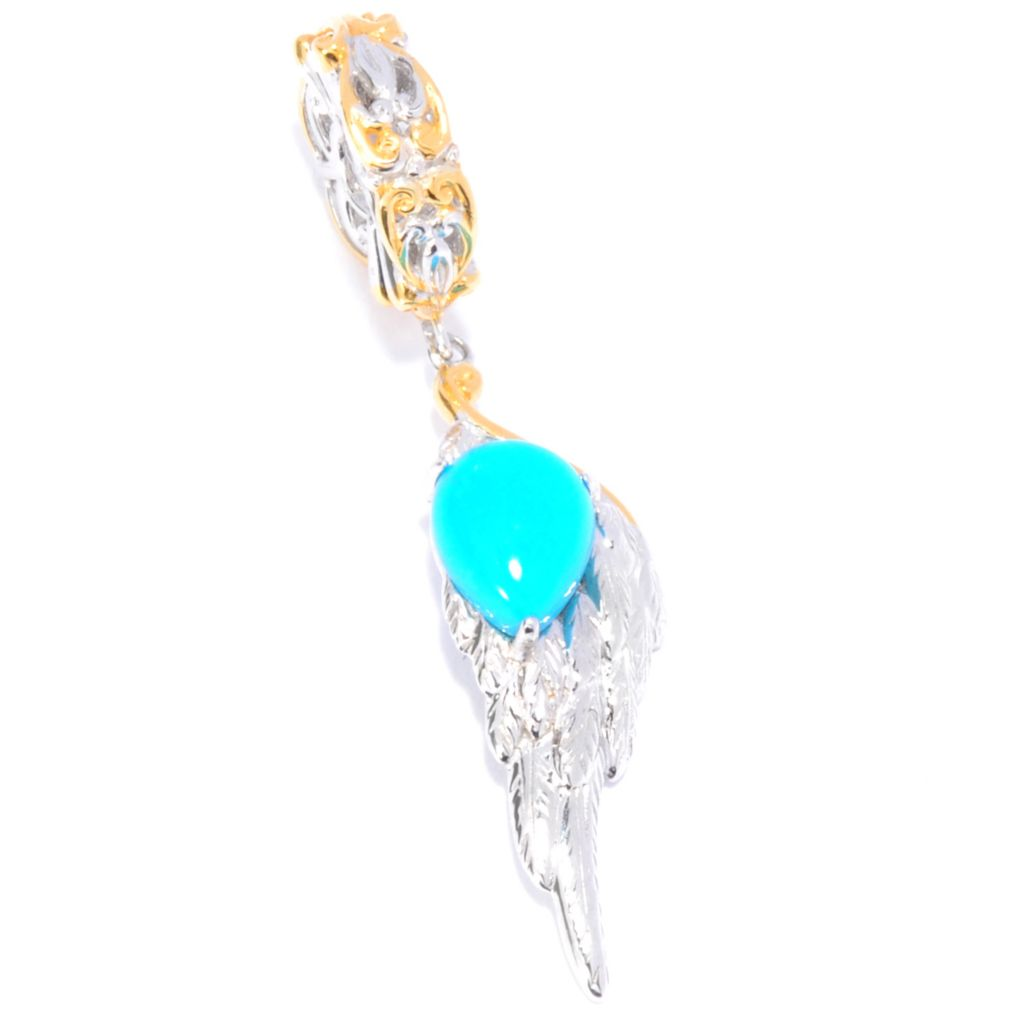 137-685 - Gems en Vogue II Sleeping Beauty Turquoise Angel Wing Drop Charm