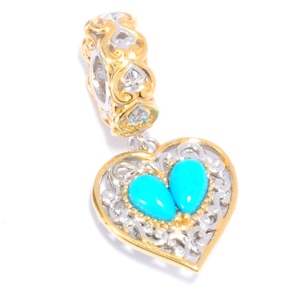 137-686 - Gems en Vogue II Sleeping Beauty Turquoise Heart Drop Charm