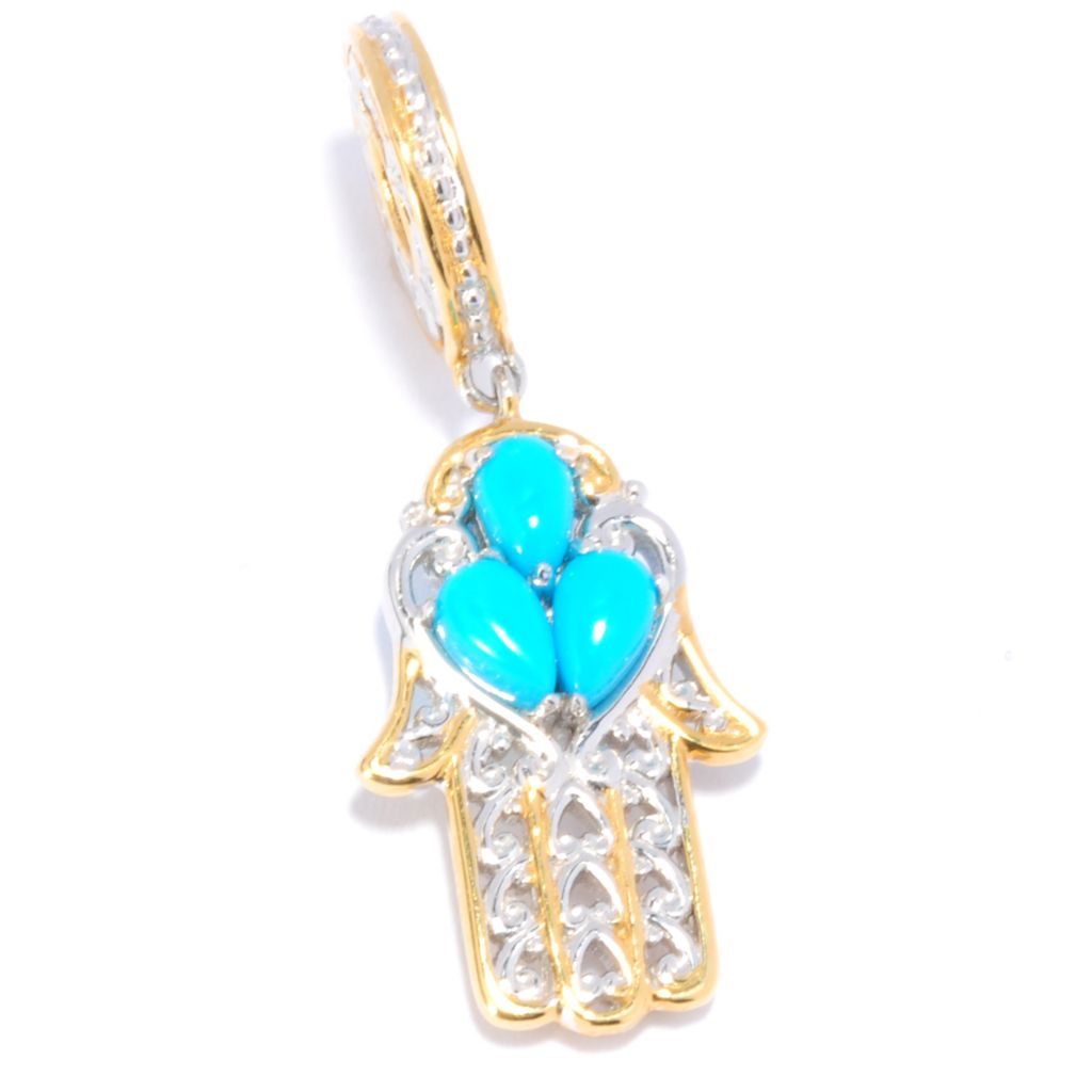137-687 - Gems en Vogue II Sleeping Beauty Turquoise Hamsa Drop Charm