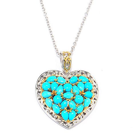 137-688 - Gems en Vogue Multi Shape Sleeping Beauty Turquoise Heart Pendant w/ Chain
