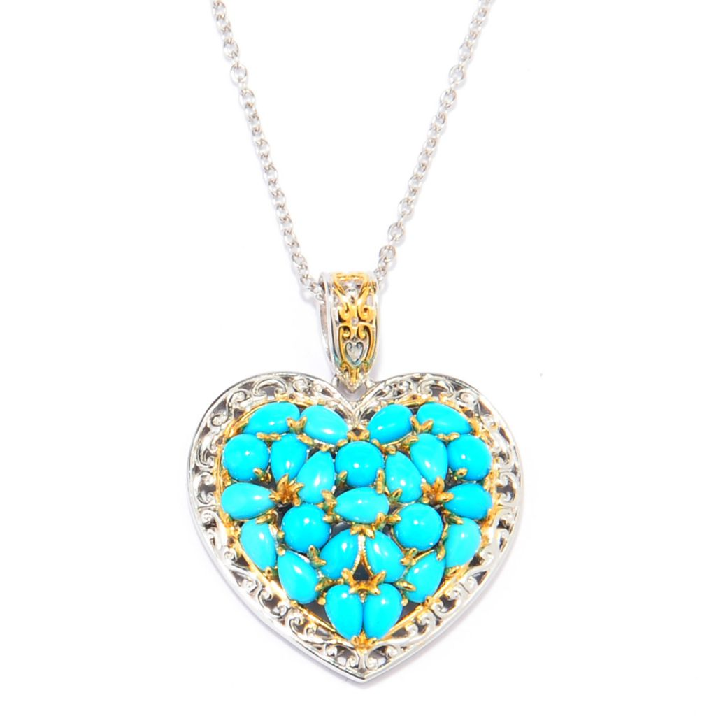 137-688 - Gems en Vogue Multi Shape Sleeping Beauty Turquoise Heart Pendant w/ Chain