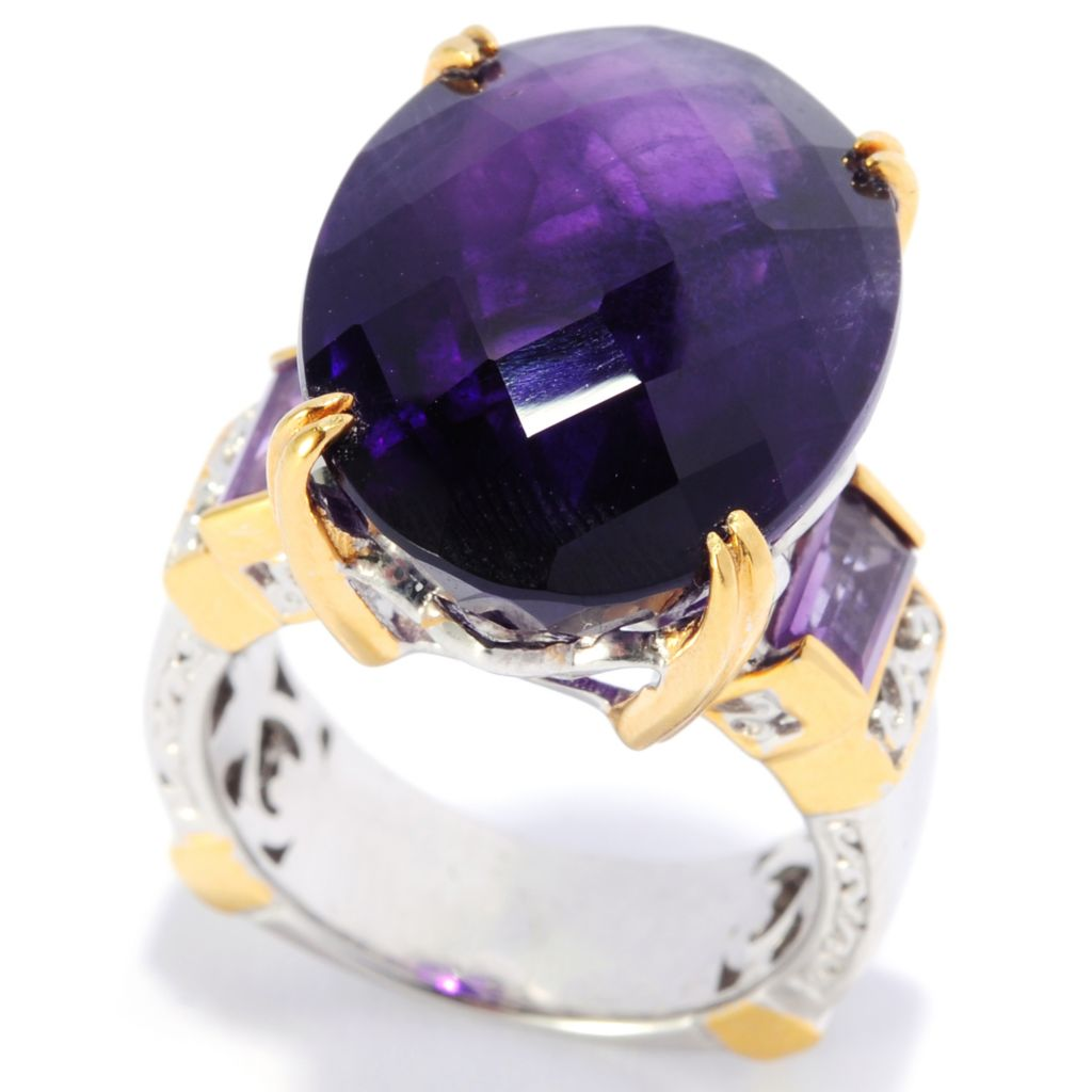 137-689 - Gems en Vogue 16.70ctw Oval Tanzanian Color Shift Amethyst Ring