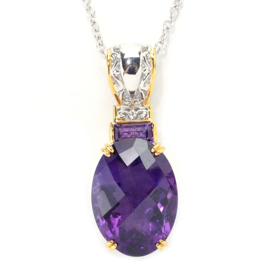 137-690 - Gems en Vogue II 11.35ctw Tanzanian Color Shift Amethyst Pendant w/ Chain