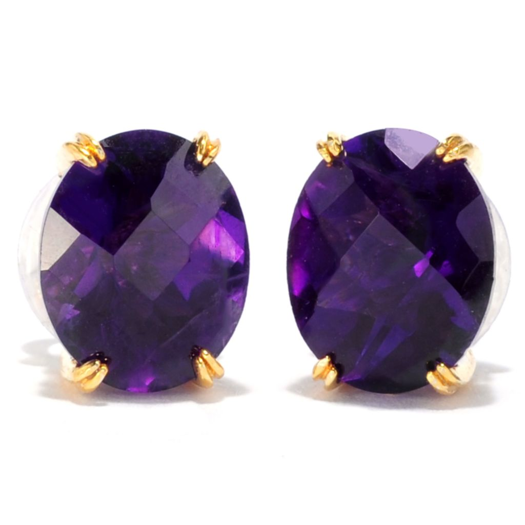137-691 - Gems en Vogue II 4.58ctw Tanzanian Color Shift Amethyst Stud Earrings