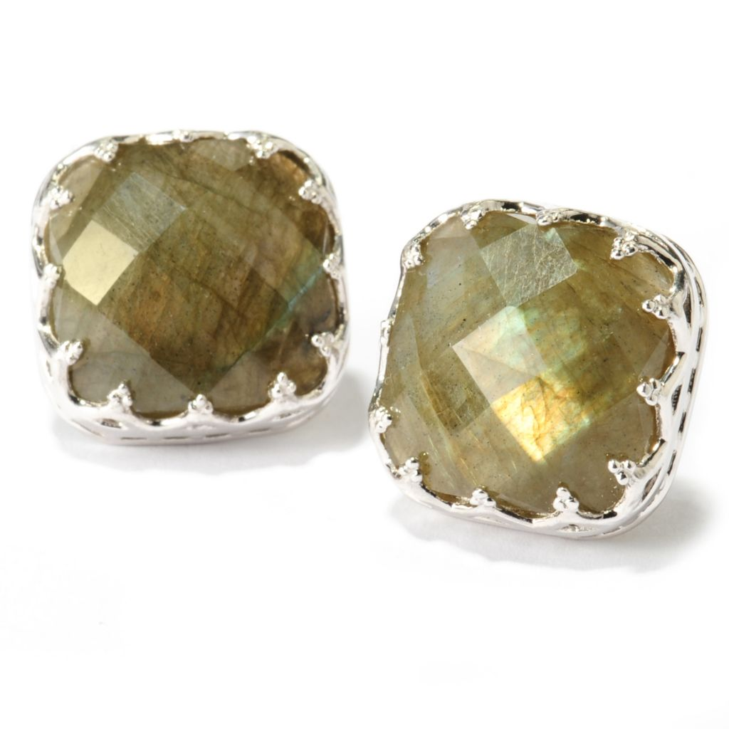137-692 - Dallas Prince Sterling Silver 14mm Cushion Cut Labradorite Stud Earrings