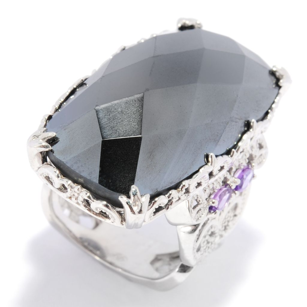 137-693 - Dallas Prince Designs 30 x 16mm Hematite & Amethyst Elongated North-South Ring