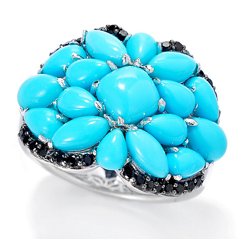 137-701 - Gem Insider™ Sterling Silver Sleeping Beauty Turquoise & Black Spinel Ring