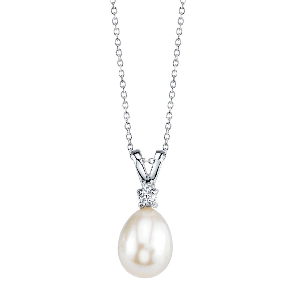 137-706 - Radiance Pearl Sterling Silver AAA Quality 8mm Freshwater Cultured Pearl & Simulated Stone Pendant