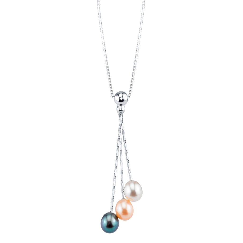 137-707 - Radiance Pearl Sterling Silver AAA Quality 6mm Multi Color Freshwater Cultured Pearl Pendant w/Chain