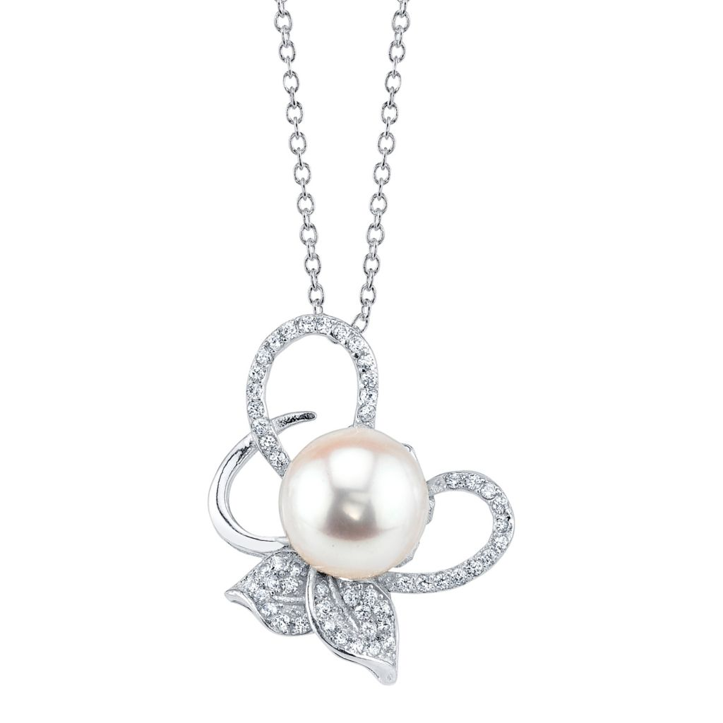 137-708 - Radiance Pearl Sterling Silver AAA Quality 9mm Freshwater Cultured Pearl & Simulated Stone Pendant