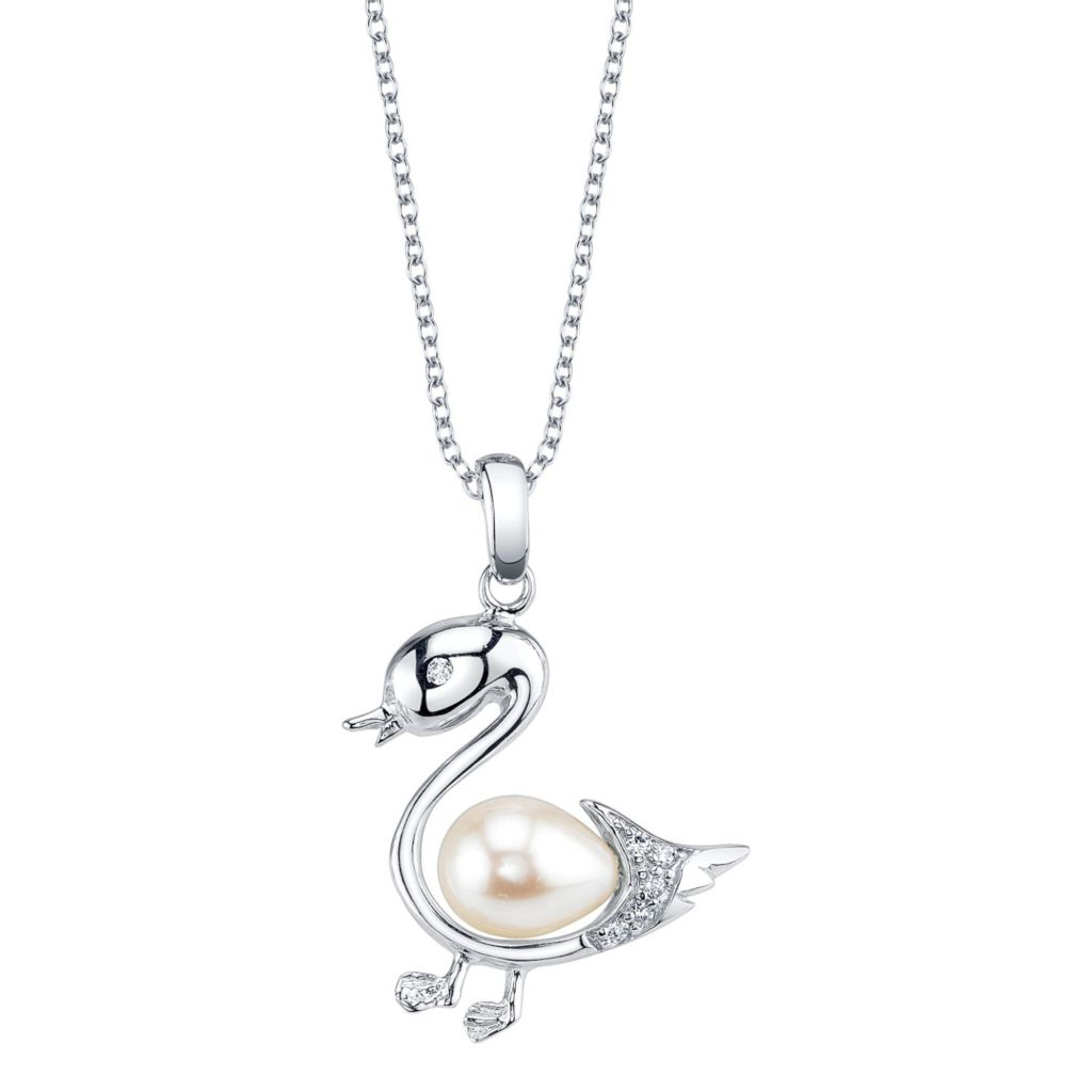 137-709 - Radiance Pearl Sterling Silver AAA Quality 7mm White Freshwater Cultured Pearl Swan Pendant