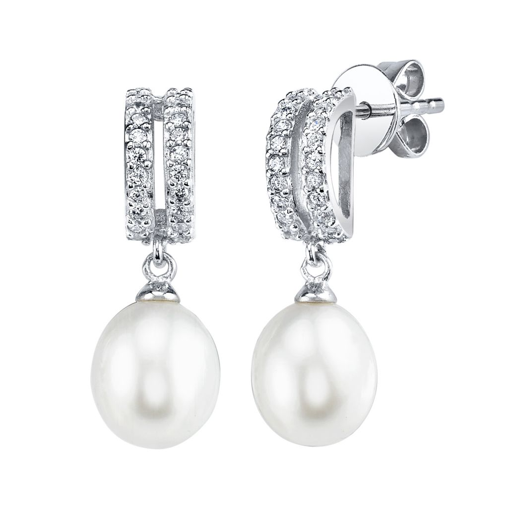 137-711 - Radiance Pearl Sterling Silver AAA Quality 8mm Freshwater Cultured Pearl & Simulated Stone Earrings