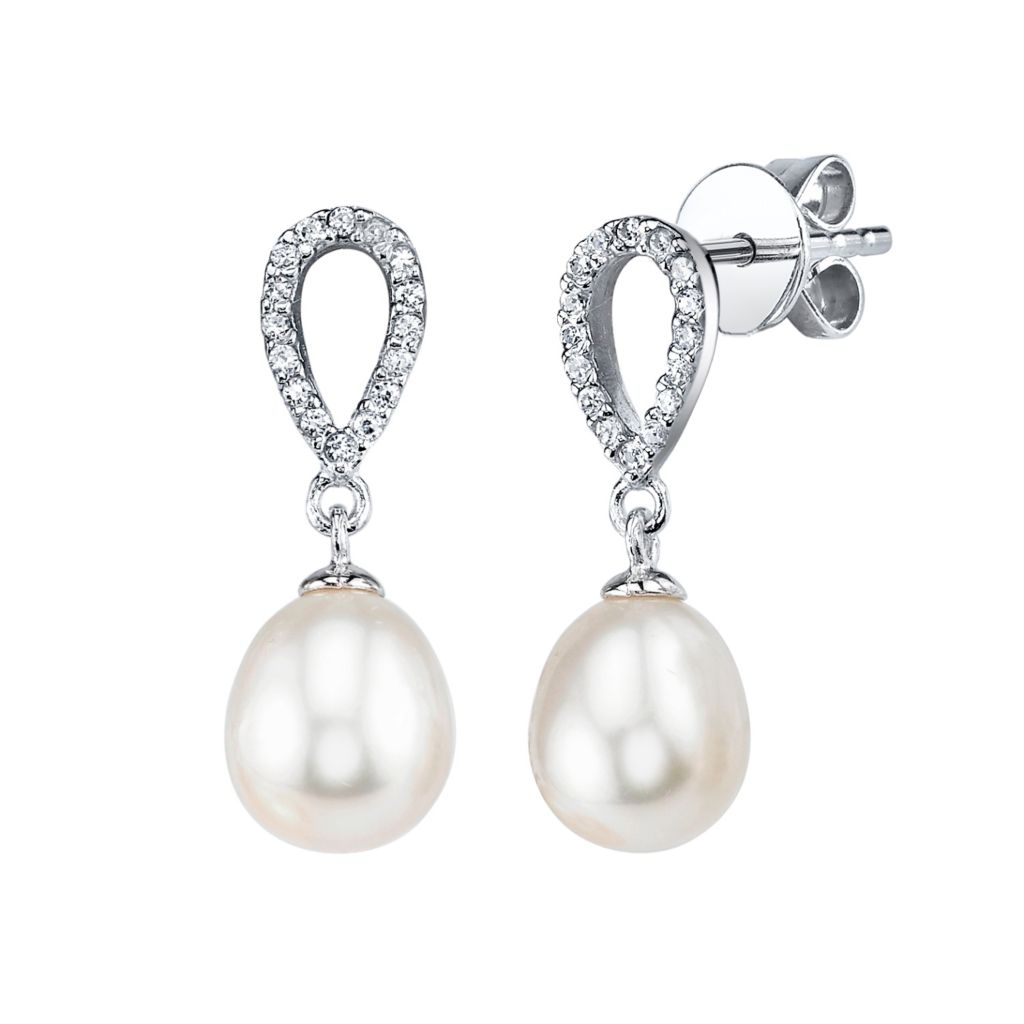 137-713 - Radiance Pearl Sterling Silver AAA Quality 7mm Freshwater Cultured Pearl & Simulated Stone Earrings