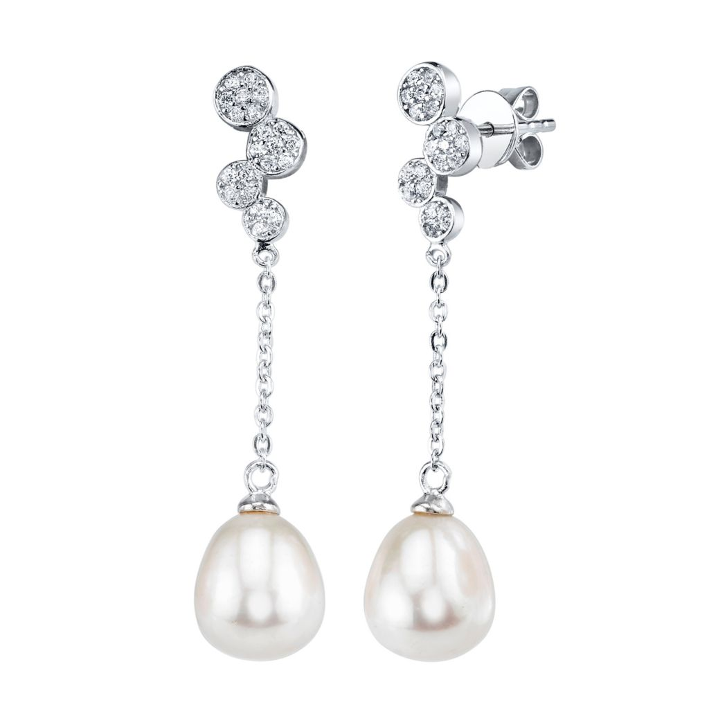 137-714 - Radiance Pearl Sterling Silver AAA Quality 8mm Freshwater Cultured Pearl & Simulated Stone Earrings