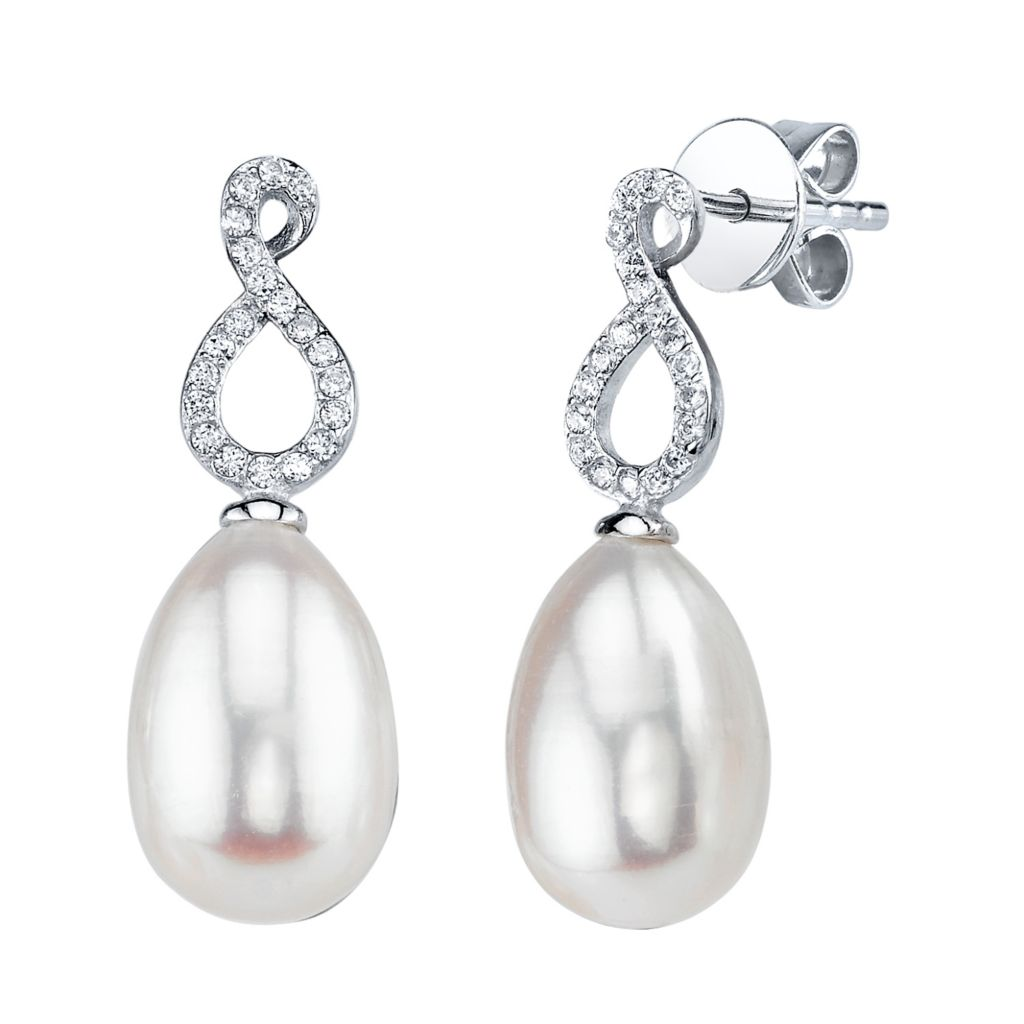 137-715 - Radiance Pearl Sterling Silver AAA Quality 9mm Freshwater Cultured Pearl & Simulated Stone Earrings
