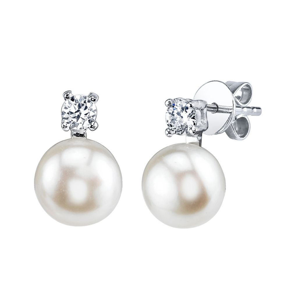 137-716 - Radiance Pearl Sterling Silver AAA Quality 7mm Freshwater Cultured Pearl & Simulated Stone Earrings