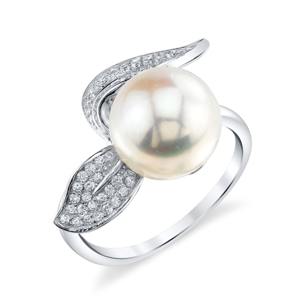 137-721 - Radiance Pearl Sterling Silver AAA Quality 10mm Freshwater Cultured Pearl & Simulated Stone Ring