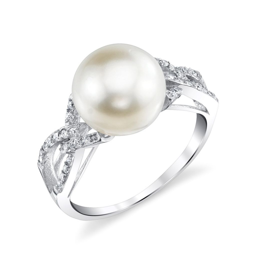 137-722 - Radiance Pearl Sterling Silver AAA Quality 10mm Freshwater Cultured Pearl & Simulated Stone Ring