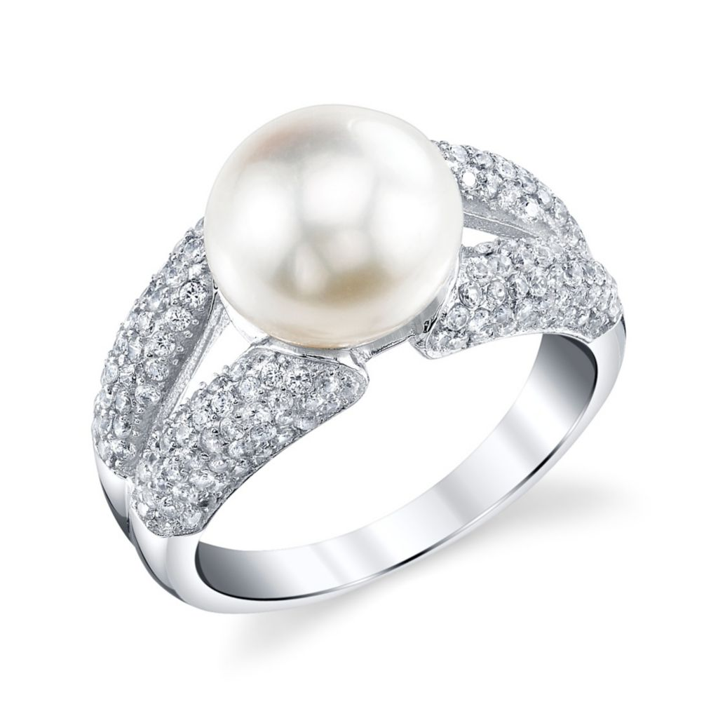 137-723 - Radiance Pearl Sterling Silver AAA Quality 9mm Freshwater Cultured Pearl & Simulated Stone Ring