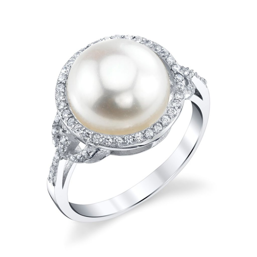 137-724 - Radiance Pearl Sterling Silver AAA Quality 11mm Freshwater Cultured Pearl & Simulated Stone Ring