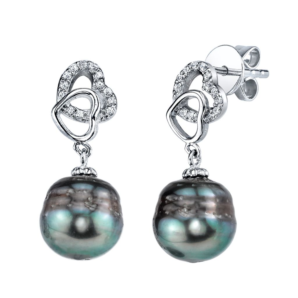 137-727 - Radiance Pearl Sterling Silver AAA Quality 10mm Baroque Tahitian South Sea Pearl Earrings
