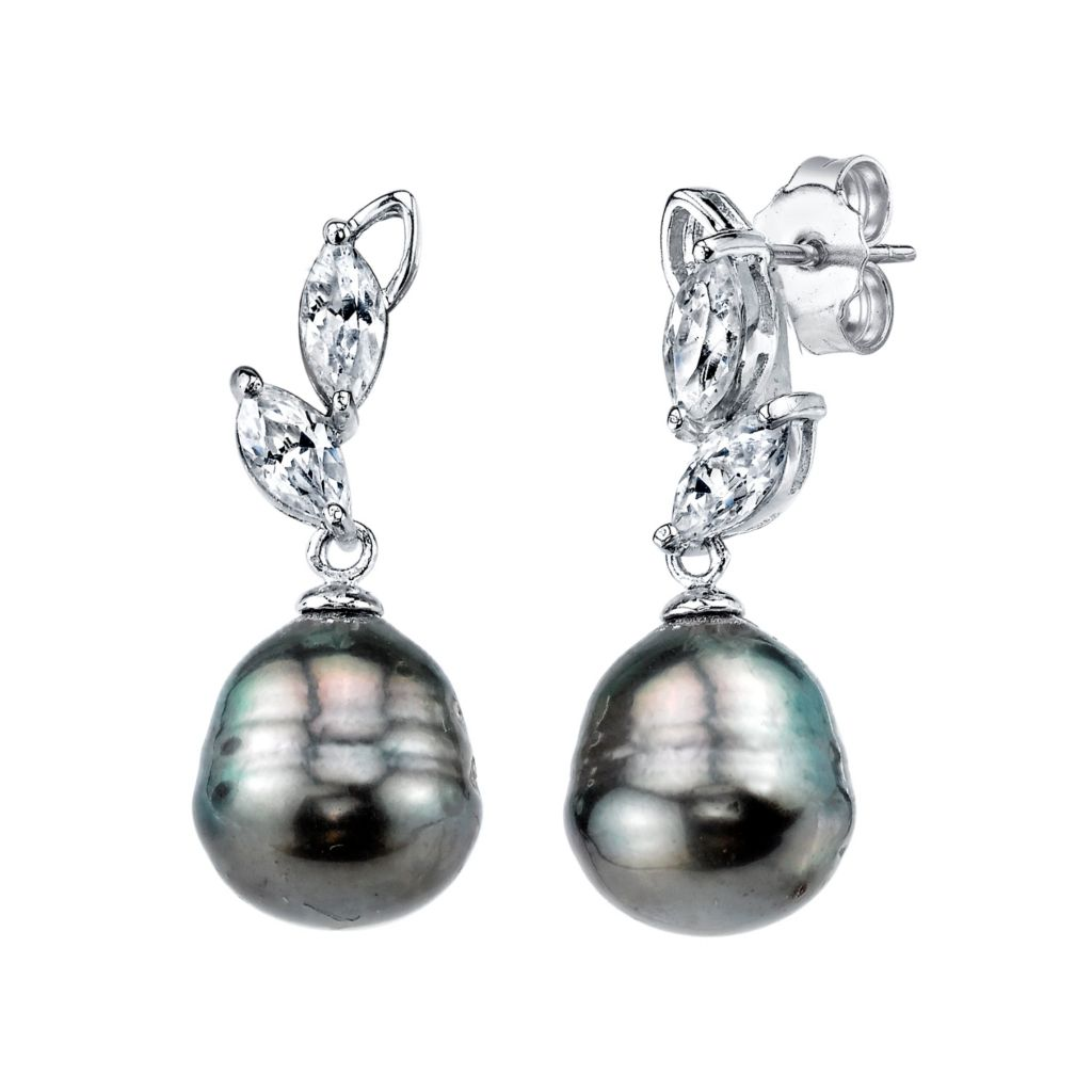 137-728 - Radiance Pearl Sterling Silver AAA Quality 10mm Baroque Tahitian South Sea Pearl Earrings