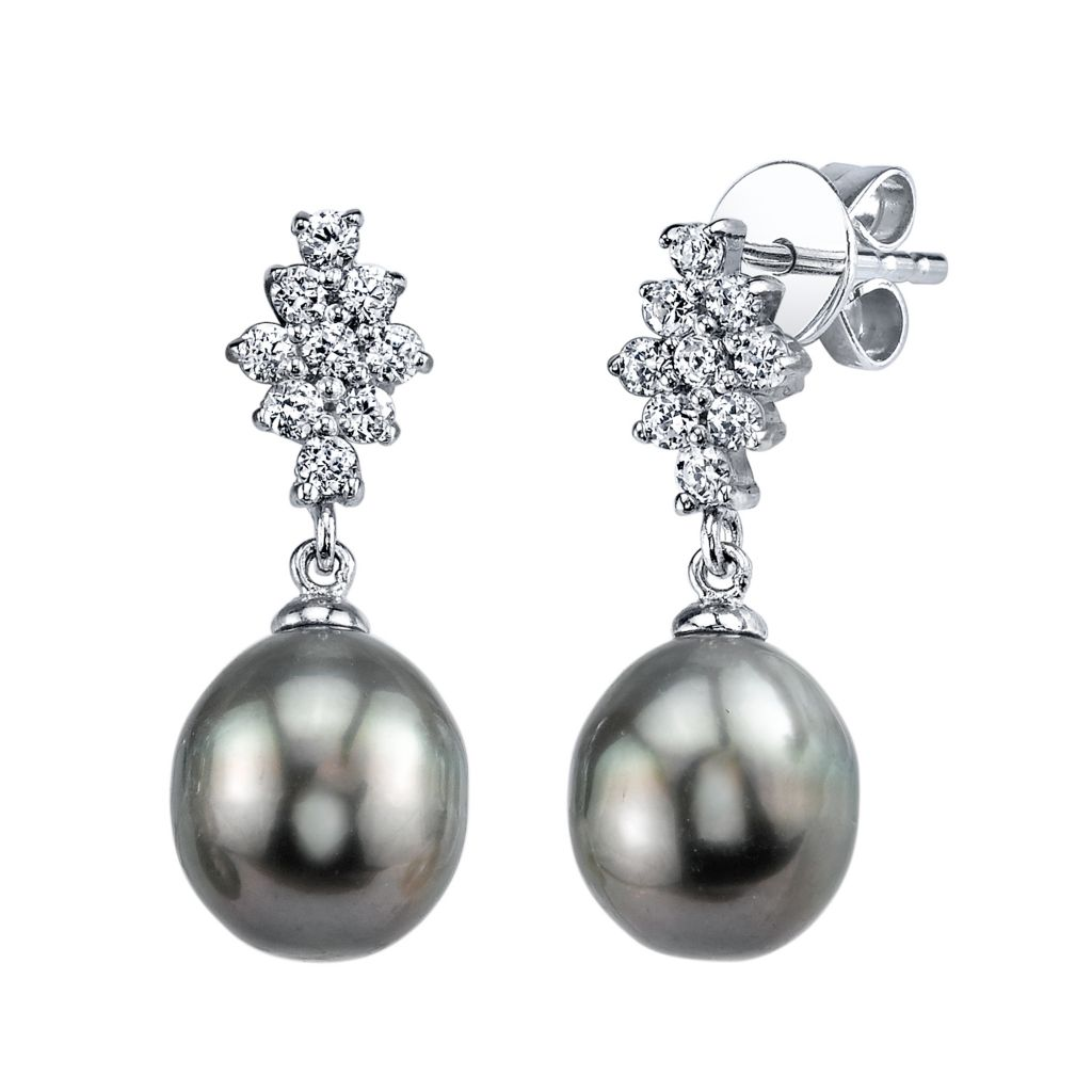 137-729 - Radiance Pearl Sterling Silver AAA Quality 9mm Baroque Tahitian South Sea Pearl Earrings