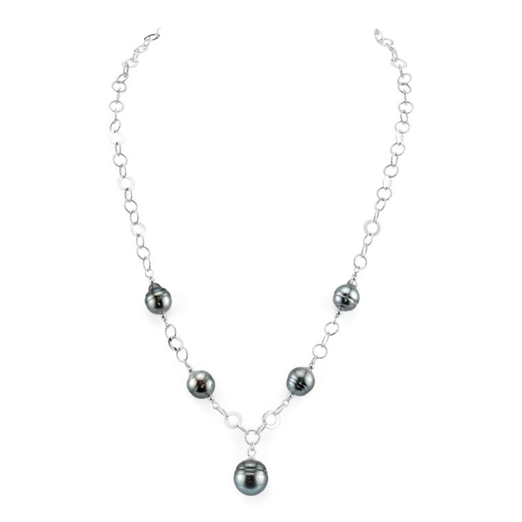 "137-730 - Radiance Pearl Sterling Silver AAA Quality 8mm Baroque Tahitian South Sea Pearl 18"" Necklace"