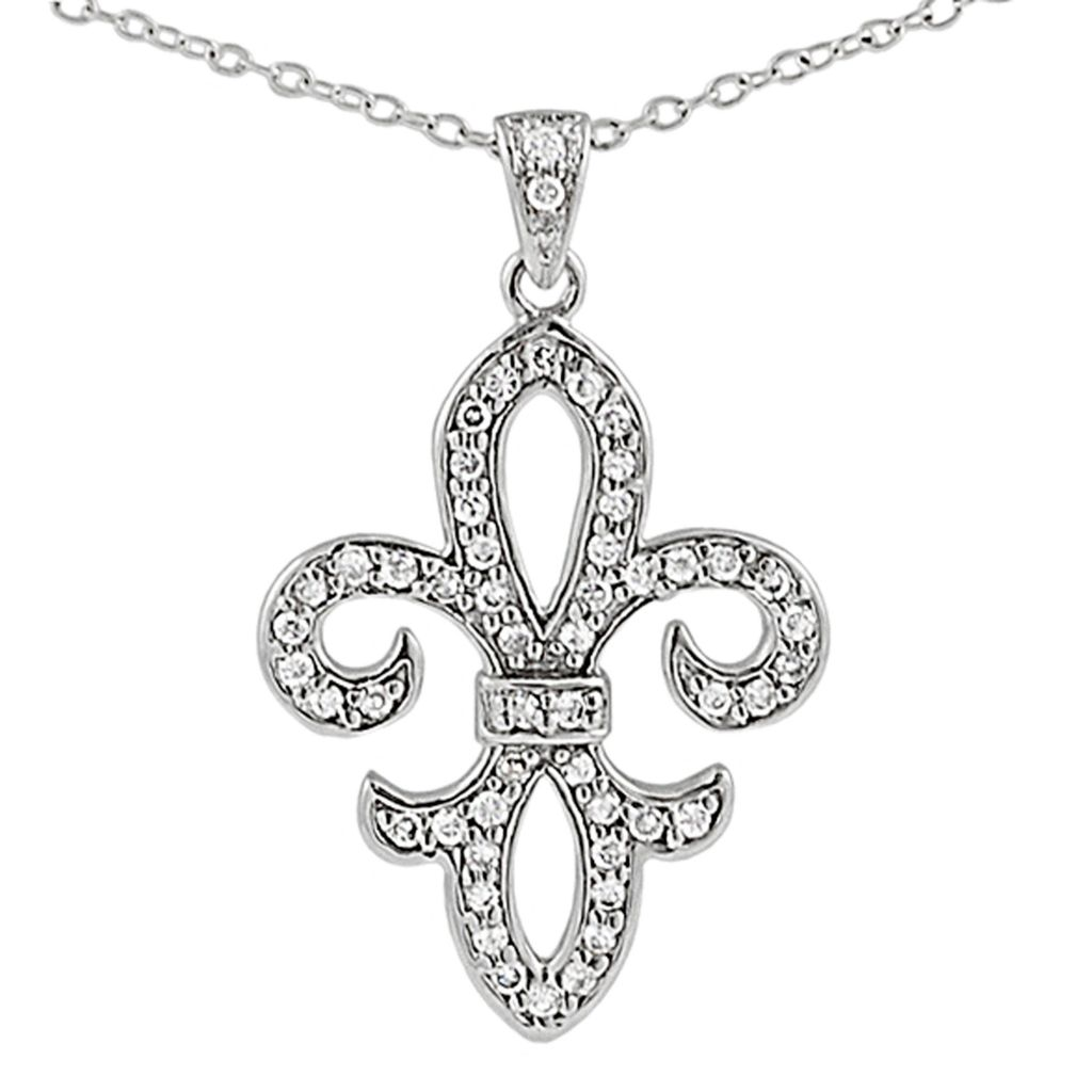 137-745 - Tressa Sterling Silver Simulated Diamond Fleur de Lis Pendant w/ Chain