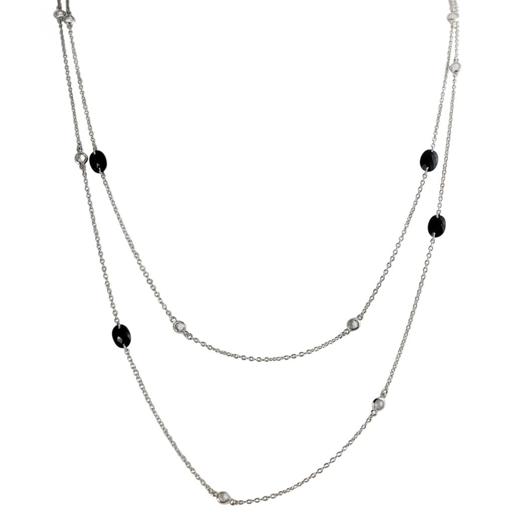 "137-768 - Tressa Sterling Silver 60"" Simulated Diamond Vintage Inspired Necklace"