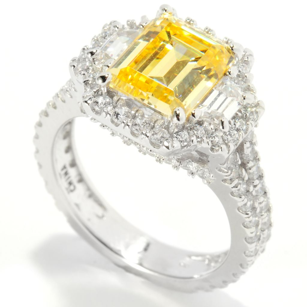 137-769 - Brilliante® Platinum Embraced™ 4.40 DEW Simulated Canary Diamond Halo Ring