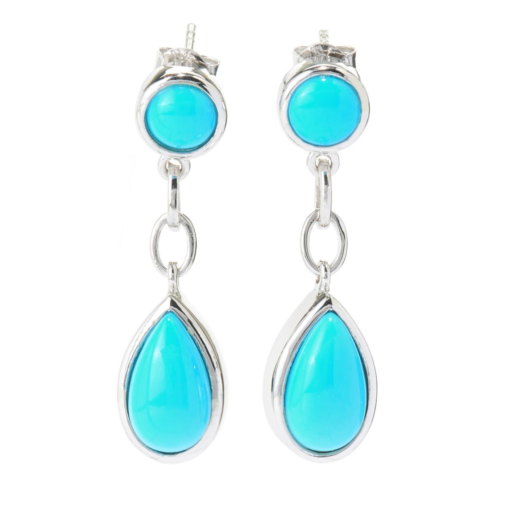 "137-770 - Gem Insider Sterling Silver 1.25"" Sleeping Beauty Turquoise Drop Earrings"