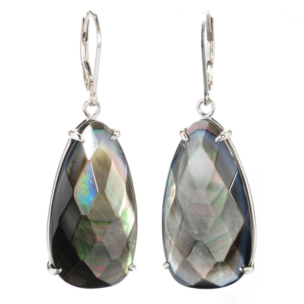 "137-773 - Sterling Silver 2"" 29 x 16mm Faceted Mother-of-Pearl Leverback Drop Earrings"