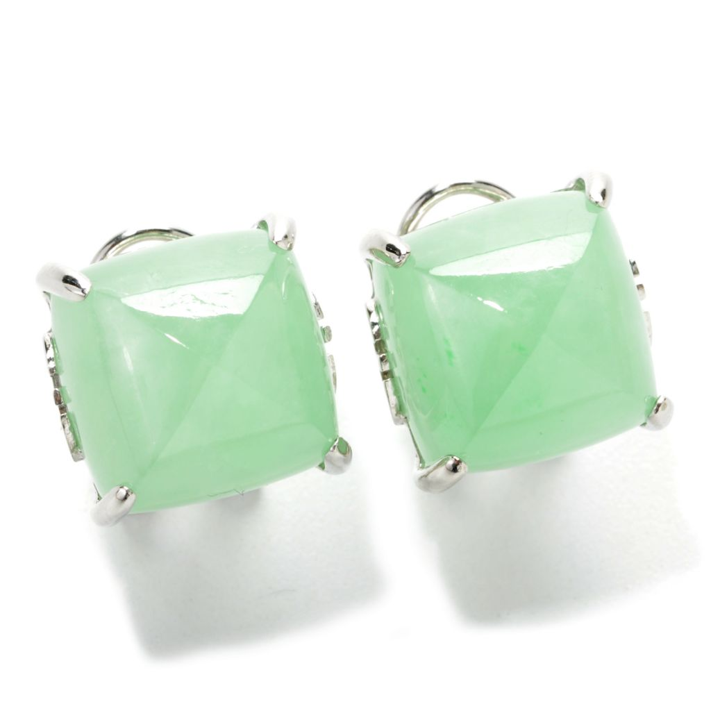 137-775 - Sterling Silver 12mm Dyed Green Jade Pyramid Stud Earrings w/ Omega Backs