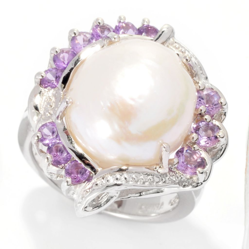 137-776 - Sterling Silver 12mm Irregular White Freshwater Cultured Pearl & Amethyst Ring
