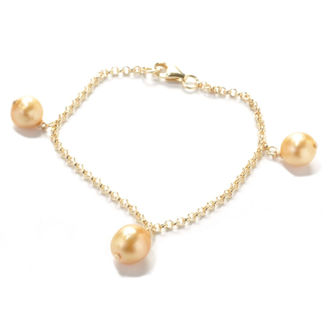 "137-777 - 14K Gold Embraced™ 7.25"" 9-10mm Golden South Sea Cultured Pearl Station Bracelet"