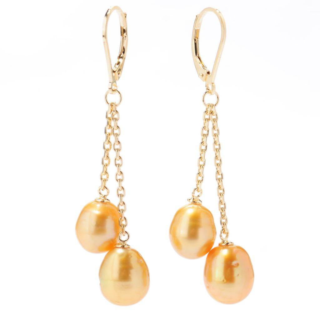 "137-778 - 14K Gold Embraced™ 2"" 9-10mm Golden South Sea Cultured Pearl Double Drop Earrings"