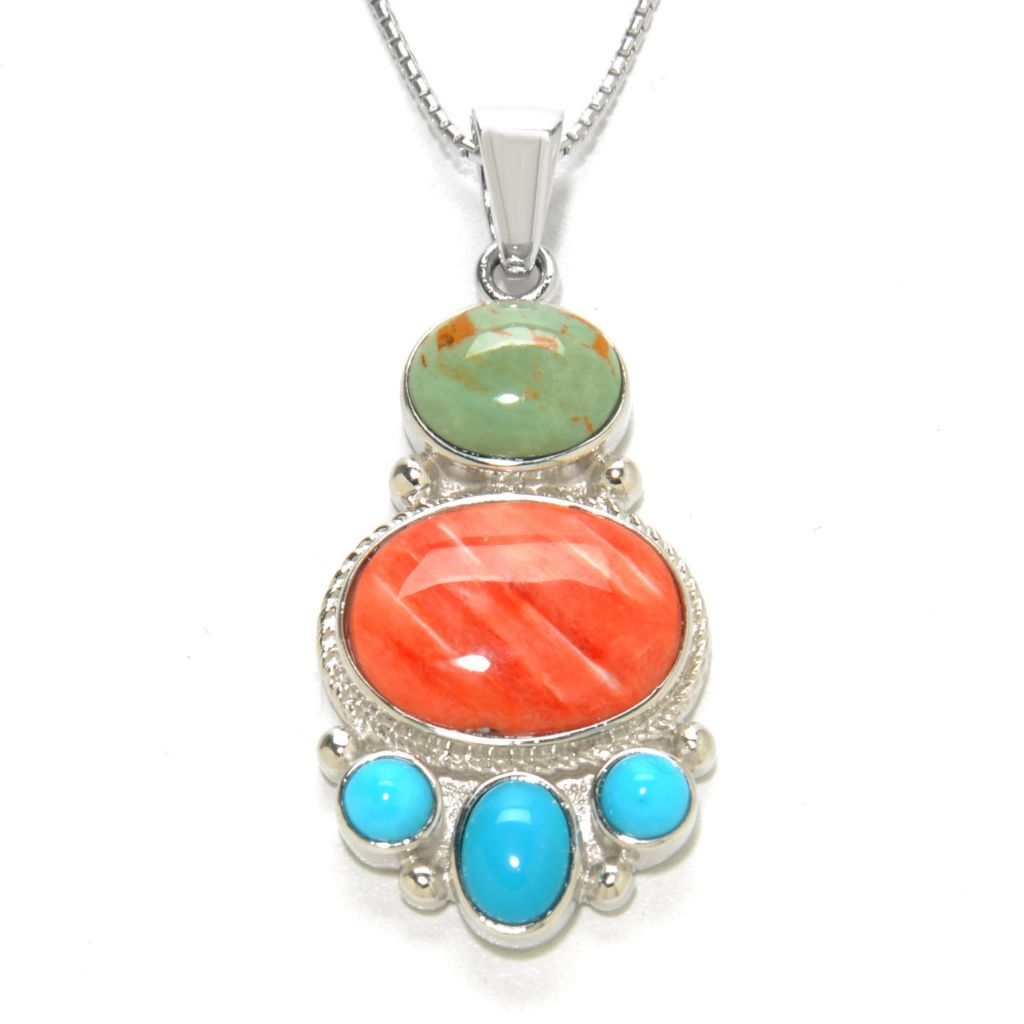 137-782 - Gem Insider Sterling Silver Spiny Oyster & Multi Turquoise Pendant w/ Chain