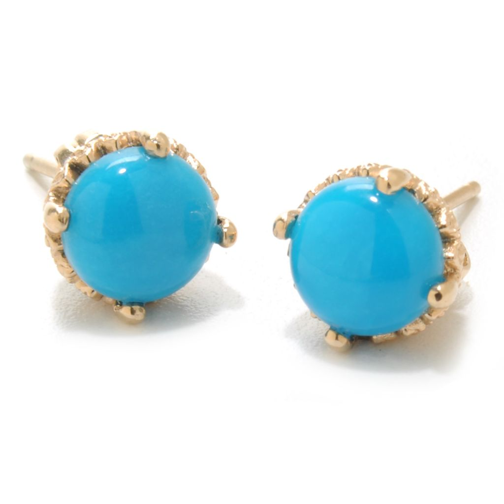 137-783 - Gem Insider 14K Gold 7mm Sleeping Beauty Turquoise Textured Stud Earrings