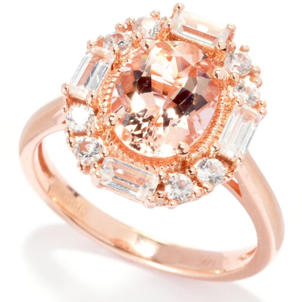 137-793 - Gem Treasures 14K Rose Gold 2.58ctw Morganite & White Zircon Halo Ring