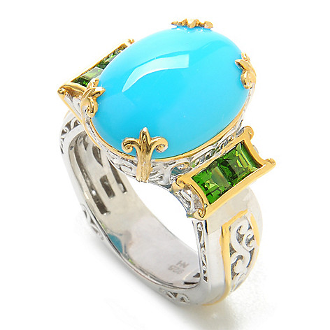 137-794 - Gems en Vogue 16 x 12mm Sleeping Beauty Turquoise & Gemstone Ring
