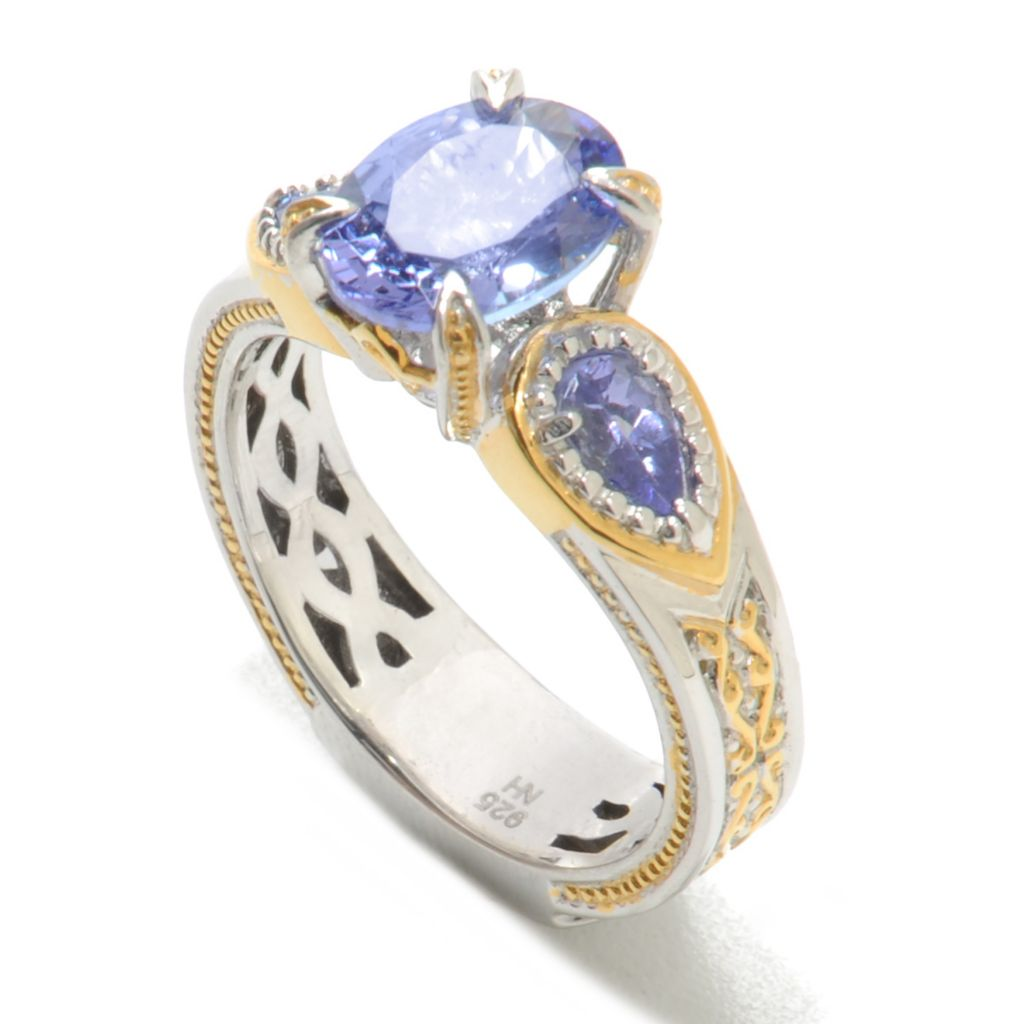 137-795 - Gems en Vogue II 2.20ctw Oval & Pear Shaped Tanzanite Ring