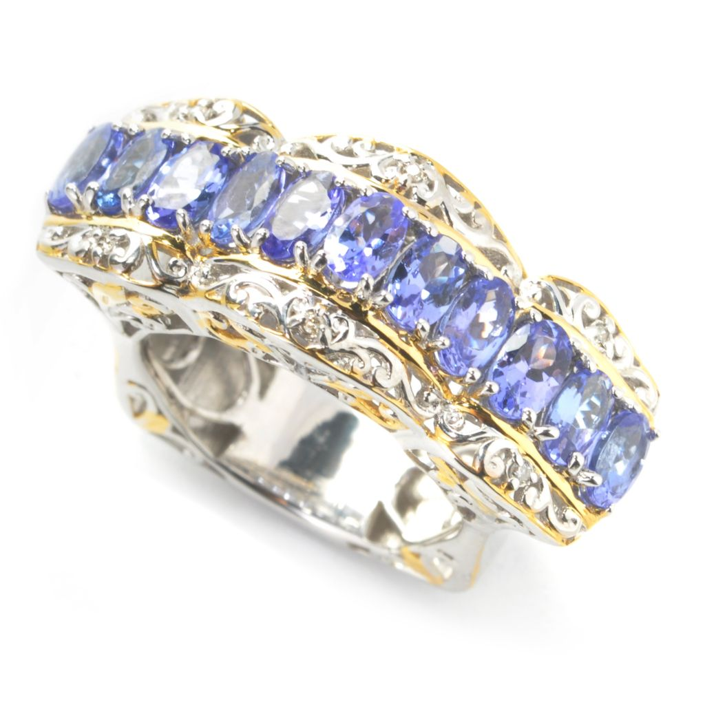 137-796 - Gems en Vogue 2.12ctw Oval Tanzanite & Diamond Euro Shank Ring